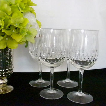 Noritake, Hand Made Crystal Wine Glasses Echo Pattern, Discontinued Four Glasses