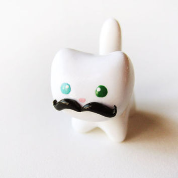 Funny Black Mustache White Cat Charm by MadAristocrat on Etsy