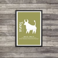Taurus Minimalist Poster | Zodiac poster | Astrology Poster | Silhouette art| Custom colors available