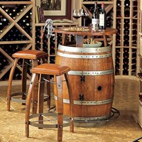 Vintage Oak Wine Barrel Bistro Table & Bar Stools with Leather Seats - Wine Enthusiast