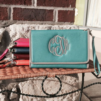 Monogram Turquoise Trifold Wristlet Wallet Font Shown MASTER CIRCLE in Grey