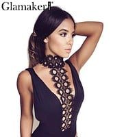 Glamaker Slim eyelash lace halter v neck sexy bodysuit Sleeveless elegant jumpsuit romper Party backless top women outfits