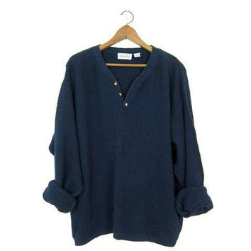 Oversized Dark Blue Sweater Button Up Henley Sweater Slouchy Boyfriend Pullover Textured Nubby Cotton Knit Thermal Shirt Sweater Men's XL