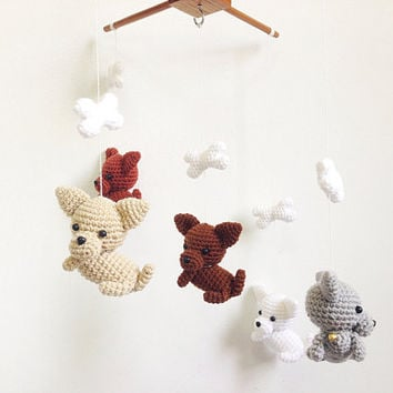 Chiwawa puppies with tiny bell Amigurumi Baby Mobile, Dog baby mobile, Nursery decor,Dog crochet mobile, Dog crochet mobile, Baby Gift