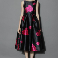Your Grace Black Prom Dress with Pink Roses  Black