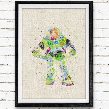 Toy Story, Buzz Lightyear, Disney, Watercolor Print, Baby Nursery Room Art, Minimalist Home Decor, Not Framed, Buy 2 Get 1 Free!