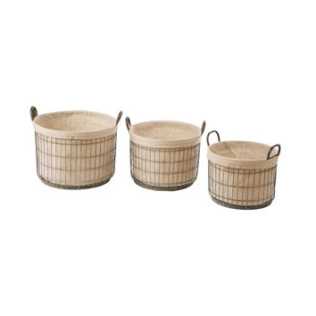Baskets with Fabric Liner - Set of 3