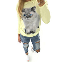 Kitten Printed Long-Sleeve Sweater Coat