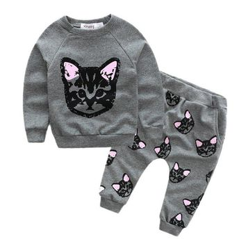 Newest Kids Sets Winter Autumn Girls Clothing Cat Print Long Sleeve Cotton Suit Casual Baby Girl Sport Suit