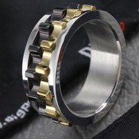 Men's Black Stainless Steel Rotating Gear Ring - RIN-3020