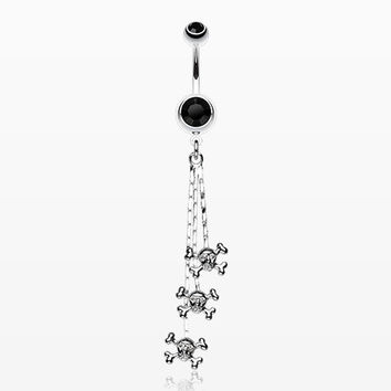 Skull & Crossbones Dangle Belly Ring