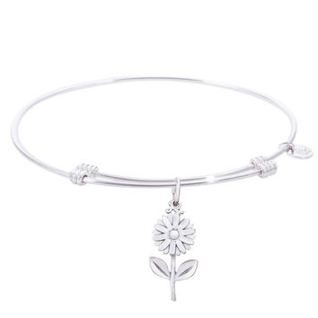Sterling Silver Tranquil Bangle Bracelet With Daisy Charm