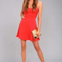 Yours Forever Red Backless Skater Dress