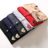 Women Men Long Sleeve Wool Heart Casual Cardigan Sweaters Comme des Garcons CDG Play Lover Couple Knitted Sweater Clothing