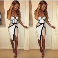 Patchwork Sleeveless sexy club dresses 2016 new fashion women  dresses Sheath summer dress style  plus size women clothing mid