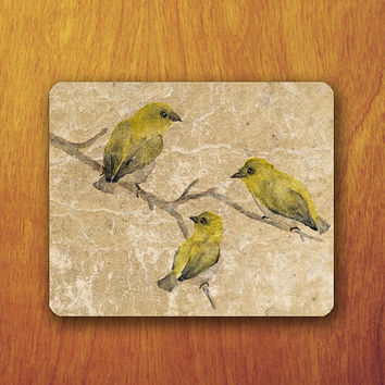 yellow Bird Vintage Mouse Pad on Brunch Floral Beautiful Animal Painting Old Paper Office Pad Work Accessory Personalized Custom Gift