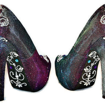 Purple jewelled bottom heels, Bridal shoes, Wedding heels, Woman's shoes, Shoe's with Bling, Bling high heels