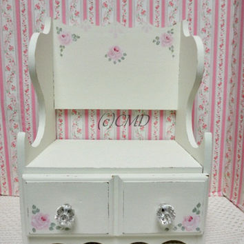 Vintage Countertop Book Chest and Drawer, Hand Painted, Roses, ECS, CSST