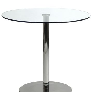 Ava Round Bistro Table with Clear Tempered Glass Top and Chrome Base