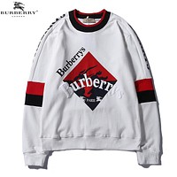 Burberry Fashion New Embroidery Letter Print Women Men Top T-Shirt White