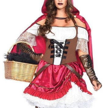 2pc.rebel Riding Hoodpick Up Peasant Dresshooded Cape In Multicolor