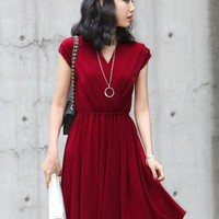 Elegant V Neck Red Dress $40.00