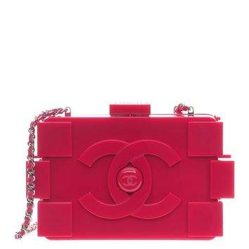 CHANEL Plexiglass Boy Brick Lego Clutch Pink