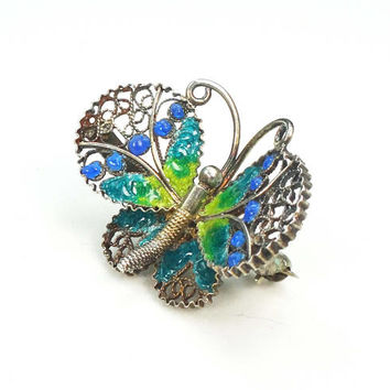 Vintage 800 Silver Butterfly Pin Silver Pin Filigree Pin Vintage Pin Vintage Green and Blue Enamel Pin Bug Brooch - Free Shipping