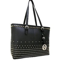 Classy! Studded Fashion Tote Purse Bag (Black)