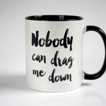 One Direction printed mug with minimalistic typography quote