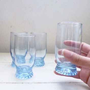Blue Juice Glasses, footed juice glass, set of 4, small drinking glasses, 1980s, vintage juice glasses, housewarming gift, wedding present