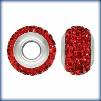 Buy Ruby Red Swarovski Elements Collegiate Crystal Bead Fits Pandora Style Bracelets. Free Shipping