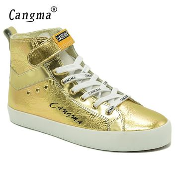 CANGMA Luxury Woman Boots Fashion Shoes Patent Casual Shoes Female Gold Ankle Boots Genuine Leather Sneakers Women's Footwear