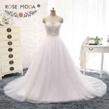 Elegant Illusion Deep Sweetheart Lace Top Wedding Dress with Removable Sash Pearl Beaded Corset Ball Gown Real Photo