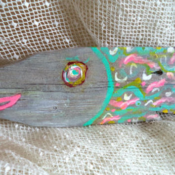 """FUNKY 22"""" Fish Hand Painted Wood Picket Beach Cottage Cabin Beach Wall Art Tropical Colors Sign Aqua Turquoise Reclaimed Wall Decor"""