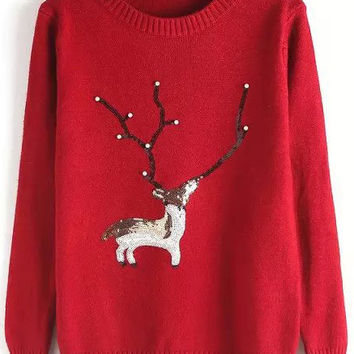 Red Deer Patterned Bear Ribbed Sweater