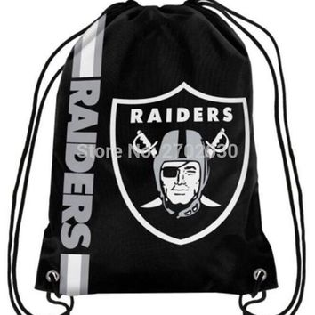 Oakland Raiders Drawstring Bags Men Sports Backpack Digital Printing Pouch Customize Bags 35*45cm Sports US Fottball Team