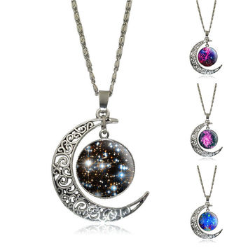 Women's Fashion Crescent Moon Galactic Cosmic Glass Silver Chain Pendant Accessories Necklace Jewelry