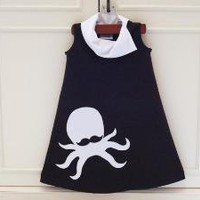 Hipster Mustache Octopus sleeveless aline jersey by TeenyBunny