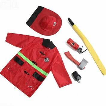 Cool children kids Cosplay carnaval uniforms fireman doctor party game halloween costume for girl Boys police man policeman costumeAT_93_12