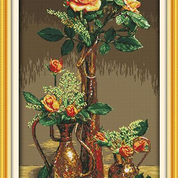 Gold Roses Flowers Set Canvas DMC Cross Stitch Kits Art Crafts Accurate Printed Embroidery DIY Handmade Needle Work Home Decor