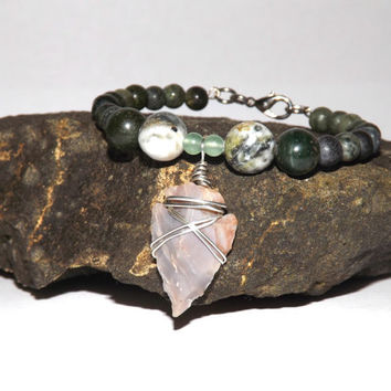 Wire Wrapped Arrowhead, Natural Stone Jewelry, Beaded Charm Bracelet, Handmade Gift, Fall Fashion Accessories, Green Bracelet