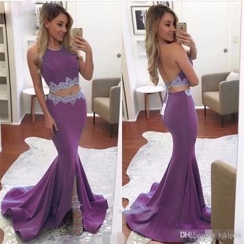 2017 Long Two Piece Mermaid Prom Dresses Halter Neck Sleeveless Lace Crop Top Backless Split Formal Purple Prom Evening Gowns
