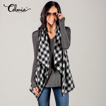 2017 Celmia Autumn Women Waistcoat Casual Loose Grid Plaids Checks Vest Coat Sleeveless Jacket Female Cardigan Outwear Size 3XL