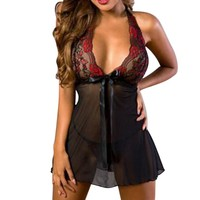 Plus Size European 2018 Women Sexy Lingerie Underwear Bow Embroidery Sleepwear Nightwear Female Mini Dress and Thongs Set 5XL