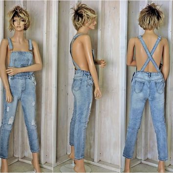 90s Levis overalls / size XS / S /  womens denim overalls / bib overall skinny jeans / distressed