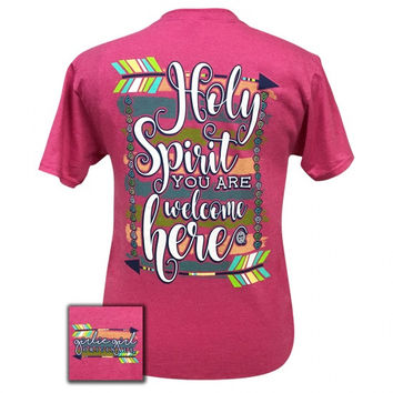 Girlie Girl Preppy Holy Spirit you are welcome here Feather T-Shirt