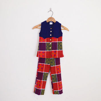 Navy Blue & Red Plaid Pant Bell Bottom Pant 70s Pant Vest Shirt Top 2 Pc Outfit 2pc Outfit Set 70s Hippie Kids Childrens Girls 4 5 S Small