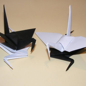Origami wedding crane, paper origami crane, origami crane, set of 1000 black-white crane, decoration crane, wedding decoration