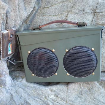 The all weather portable speaker system in 30 cal ammo cans, waterproof speakers and laser cut insert.